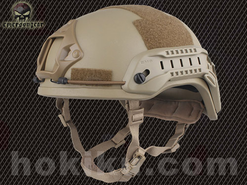 Helm Emerson MICH2001 with NVG Mount & Siderail - Black / Brown