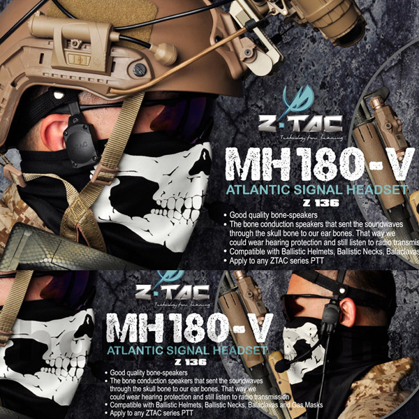 Headset MH180-V Atlantic signal Headset New Ztactical Z136